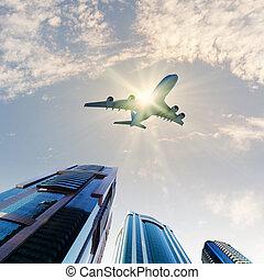 város, repülőgép, felül