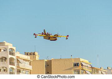 város, repülőgép, tűzoltó, felül