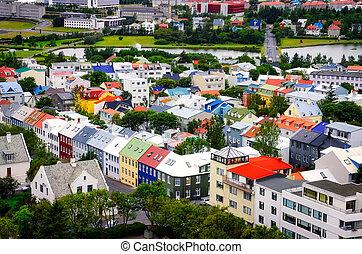 város, reykjavik, színes, épület, madár, kilátás