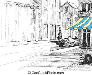 város, skicc, autók, építészet, utca, retro, városi