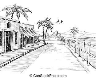 város, skicc, csendes, tengerpart, utca, tenger, kicsi, kilátás