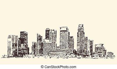 város, skicc, nagy, ábra, építészet, bevésett