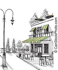 város, skicc, utca, étterem, terasz, vektor, retro, kilátás