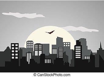 város, táj, geometriai, építészet, set., ábra, lakás, kollázs, egyszerű, épületek, háttér, vektor, mód, árnykép