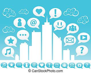 város, társadalmi, icons., média