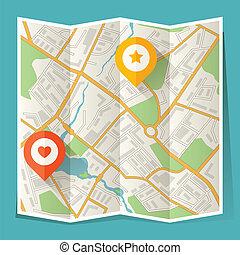 város térkép, elvont, ráncos, elhelyezés, markers.
