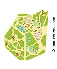 város, térkép, navigáció, chart., természetjáró, elhelyezés, város, gardens., földrajzi