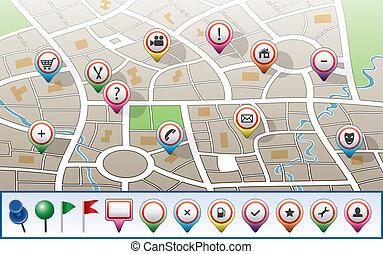 város térkép, vektor, gps, ikonok