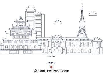 város, tokió, láthatár, lineáris, japán