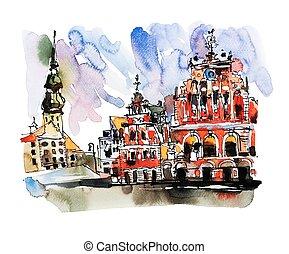 város, város, skicc, öreg, tető, riga, vízfestmény, lettország, festmény, kilátás