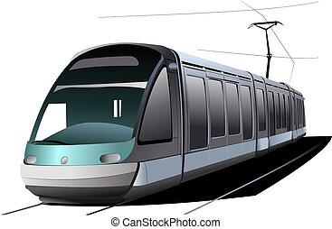 város, vektor, transport., ábra, tram.