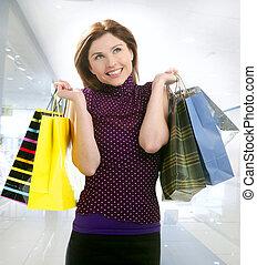 város, woman bevásárol, anyagbeszerző