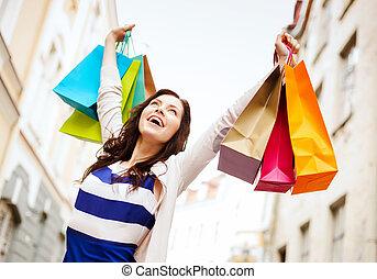 város, woman bevásárol, pantalló