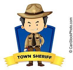 város, wordcard, seriff, foglalkozás