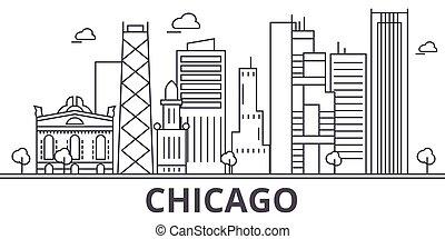város, wtih, illustration., lineáris, chicago, evez, editable, icons., iránypont, híres, láthatár, vektor, tervezés, nevezetességek, cityscape, egyenes, parkosít építészet