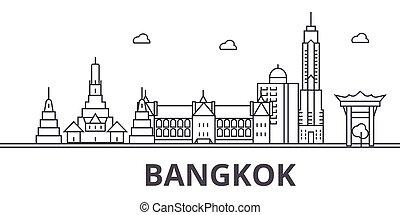 város, wtih, illustration., lineáris, evez, editable, icons., iránypont, bangkok, híres, láthatár, vektor, tervezés, nevezetességek, cityscape, egyenes, parkosít építészet