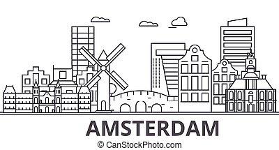város, wtih, illustration., lineáris, evez, editable, icons., iránypont, híres, láthatár, vektor, tervezés, nevezetességek, cityscape, amszterdam, egyenes, parkosít építészet