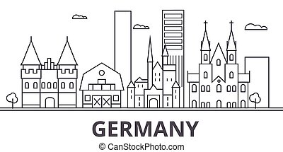 város, wtih, illustration., lineáris, evez, editable, icons., iránypont, híres, láthatár, vektor, németország, nevezetességek, cityscape, tervezés, egyenes, parkosít építészet