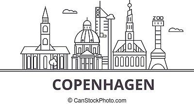 város, wtih, illustration., lineáris, evez, editable, icons., iránypont, híres, láthatár, vektor, tervezés, nevezetességek, cityscape, koppenhága, egyenes, parkosít építészet
