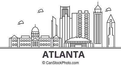 város, wtih, illustration., lineáris, evez, editable, icons., iránypont, híres, láthatár, vektor, tervezés, nevezetességek, cityscape, atlanta, egyenes, parkosít építészet