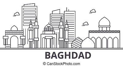 város, wtih, illustration., lineáris, evez, editable, láthatár, icons., iránypont, híres, bagdad, vektor, tervezés, nevezetességek, cityscape, egyenes, parkosít építészet