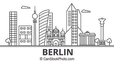 város, wtih, illustration., lineáris, evez, editable, láthatár, icons., iránypont, híres, berlin, vektor, tervezés, nevezetességek, cityscape, egyenes, parkosít építészet