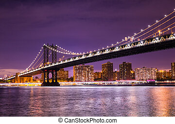város, york, új, manhattan bridzs