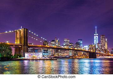 város, york, brooklyn, új, bridzs