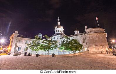 városháza, ontario, kingston, éjszaka