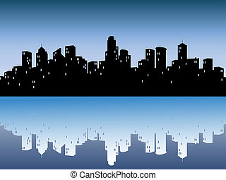 városi, égvonal, visszaverődés