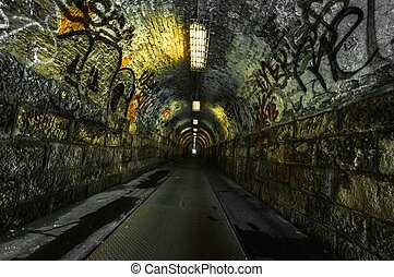 városi, alagút, föld alatti