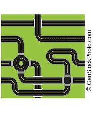 városi, illustration., aszfalt, pattern., seamless, vektor, roads.