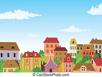 városi, karikatúra, színhely