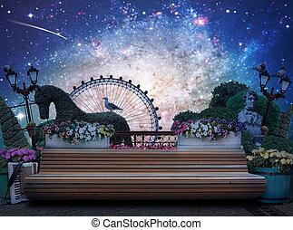 városi park, bírói szék