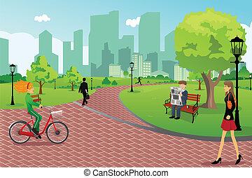 városi park, emberek