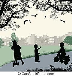 városi park, játék, gyerekek