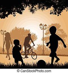 városi park, játék, napnyugta, gyerekek