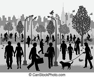 városi park, mindennapi emberek