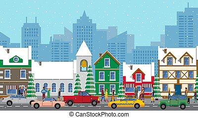 városi, tél, tél, egyenes, mód, elfoglalt, autók, vektor, kilátás, lakás, város út, élet