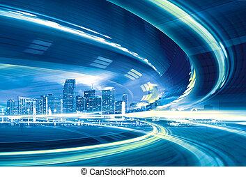 városi, trails., színes, város csillogó, elvont, modern, belvárosi, ábra, indítvány, haladó, gyorsaság, autóút