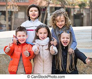 városi, utca, feltevő, gyerekek, csoport