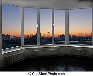 városnézés, ablak, cityscape, épület., napnyugta, piros, felül, este, körképszerű