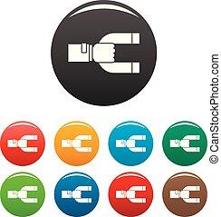 vásárló, állhatatos, ikonok, szín, mágnes, visszatartás