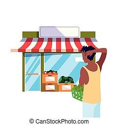 vásárló, bolt, élelmiszerbolt, elülső, kosár, ember