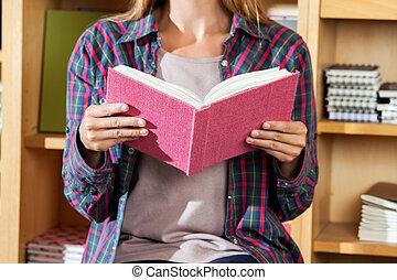 vásárló, bolt, könyv, midsection