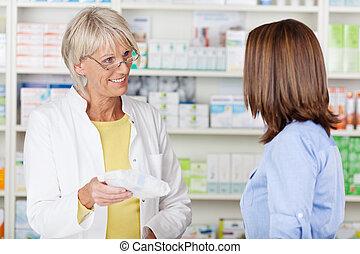 vásárló, előírt, odaad, gyógyszertár, orvosság, gyógyszerész