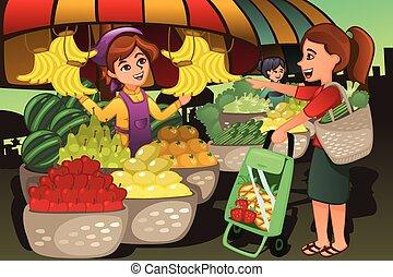 vásárló, eladó, piac, gyümölcs, tanyatulajdonosok