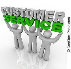 vásárló, emelés, -, szavak, szolgáltatás