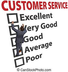 vásárló, forma, ügy, megelégedettség, szolgáltatás, ember