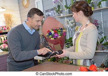 vásárló, hitel, odaad, kártya, virágárus